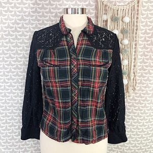 Denim & Supply Ralph Lauren Western Plaid Lace Top